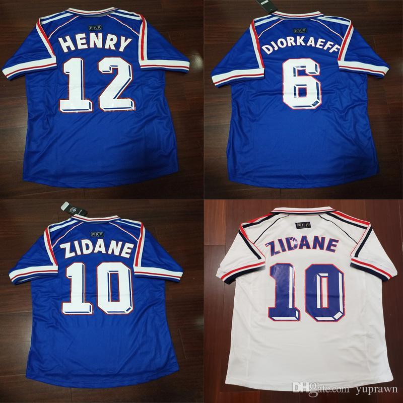 1998 Zidane Retro Soccer Jerseys Djorkaeff Henry Home Deschamps 98 ... 148d75e45