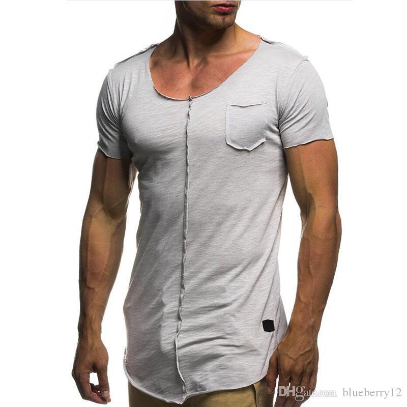 new style d3d2b ac5fc T-shirt uomo cimosa grezza cinque maniche corte color soild Nuova maglietta  casual estiva basic per palestra