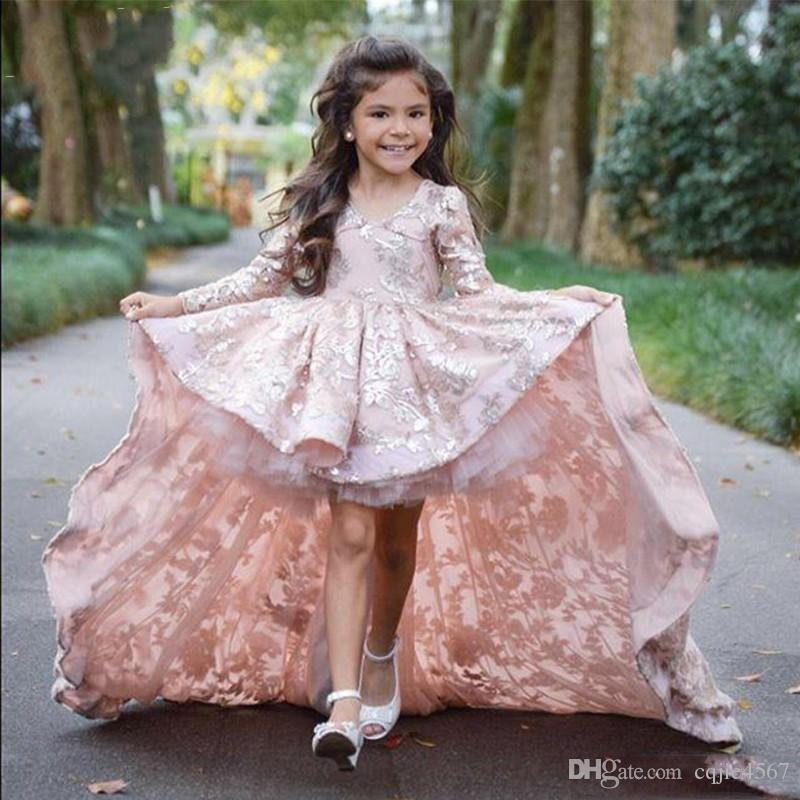 Sweep Train Children Prom Party Dresses Pink High Low Long Sleeve Flower Girl Dresses For Wedding Lace Applique Ruffles Girls Pageant Gowns