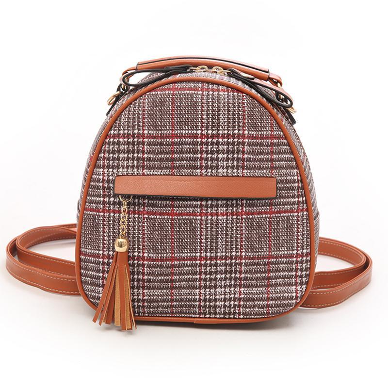 Fashion Women S Plaid Backpack Mini Tassel Backpack Women Wool Back Pack  Backpacks For Teenage Girls Rucksack Cute Shoulder Bags Backpack Purse Dog  Backpack ... f056fef9252aa