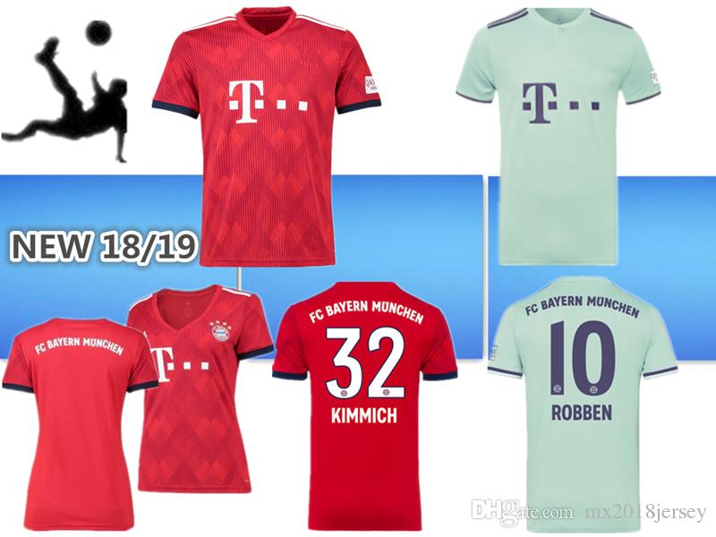 2019 2018 2019 Bundesliga Soccer Bayern Munich Jersey Men Women  9LEWANDOWSKI 10 ROBBEN 11 JAMES 25 MULLER 5 HUMMELS Football Shirt Kits Red  Green From ... 42547ef0c