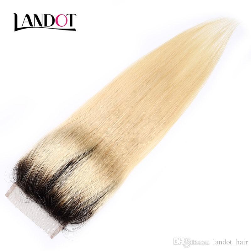 9A ombre 1B / 613 # 표백제 금발 브라질 페루 말레이시아 인도 버진 인간의 머리카락 똑 바른 4 번들이 레이스 클로저와 함께 염색 할 수 있습니다