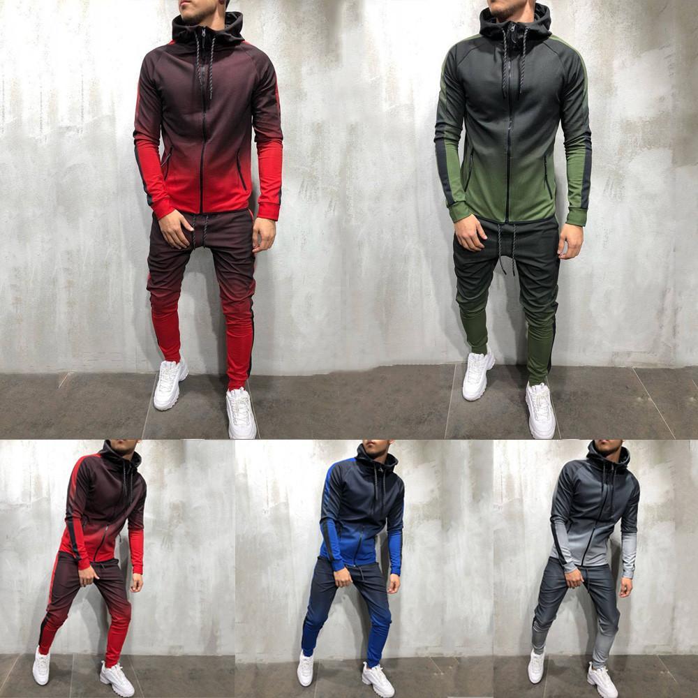 Compre 2018 Hombres Otoño Invierno Packwork Imprimir Sudadera Top Pantalones  Conjuntos Fitness Deporte Traje Chándal Conjunto Correr Jogging Suits    VD107 A ... d359af7498b1
