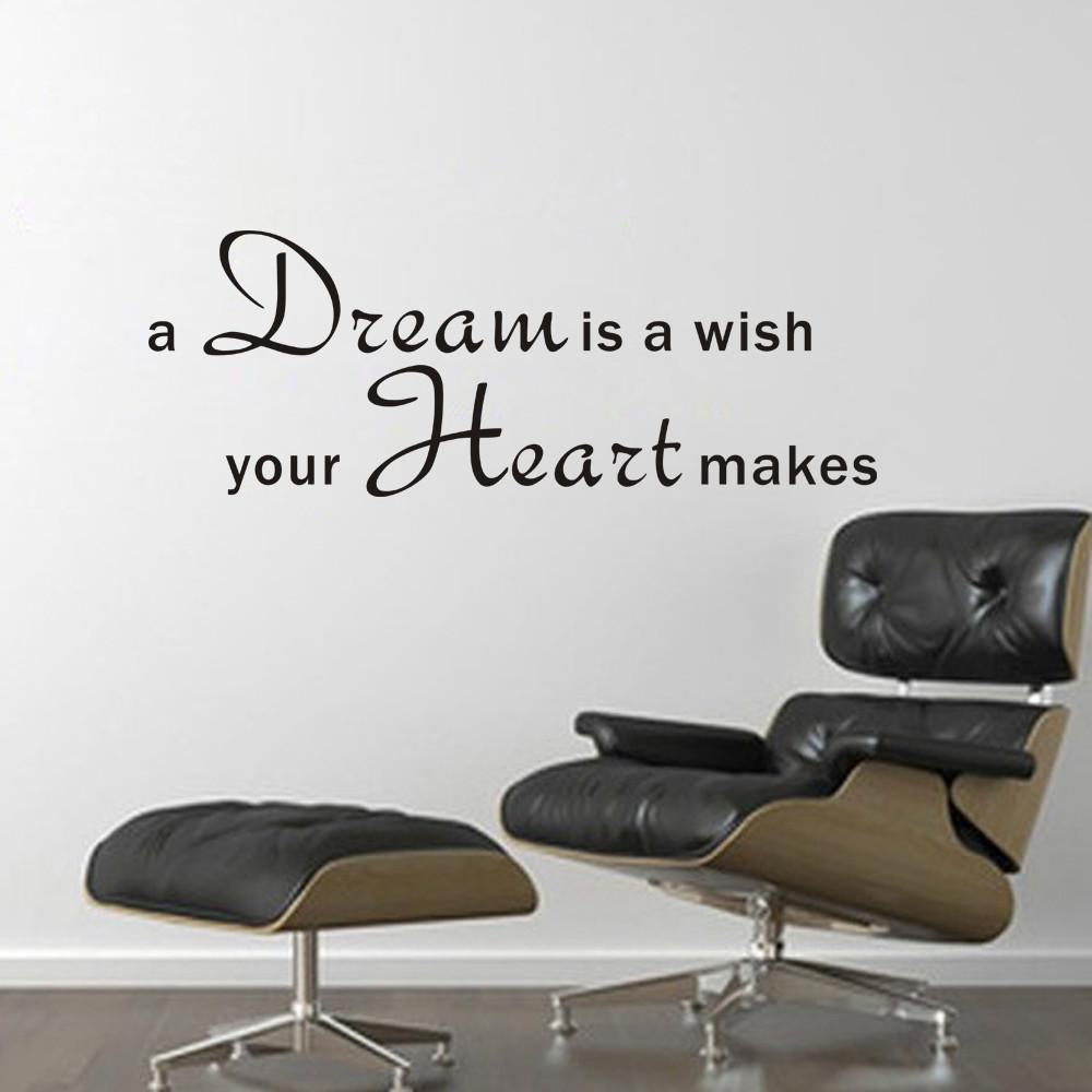 A Dream Is A Wish Your Heart Makes Letters Wall Sticker For Living Room Bedroom Home Decoration