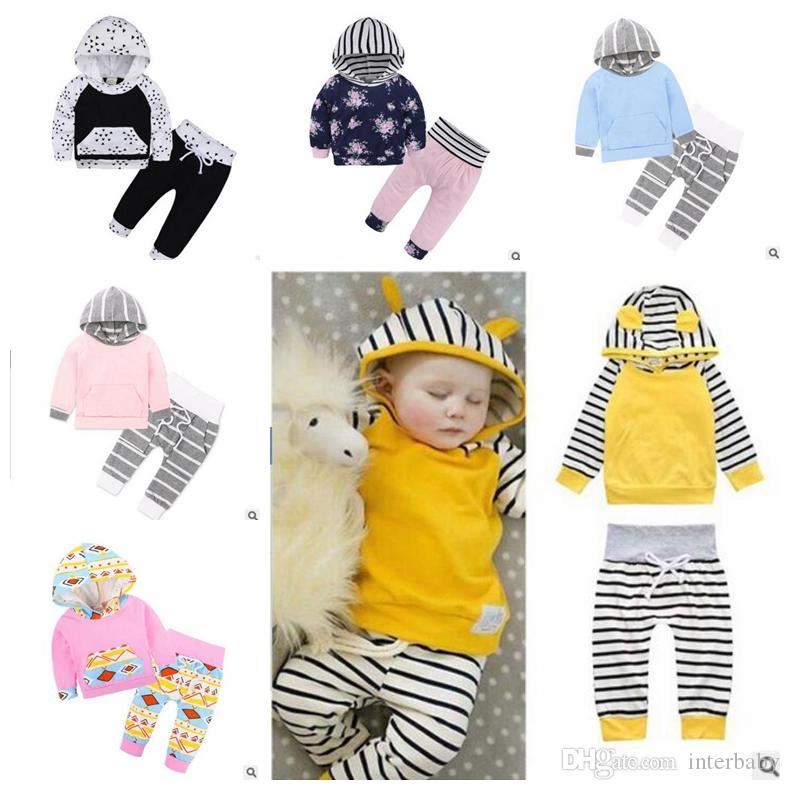 75cd16d1f111 Baby Clothing Boy Autumn Hoodie Set Girls Floral Striped Suit ...