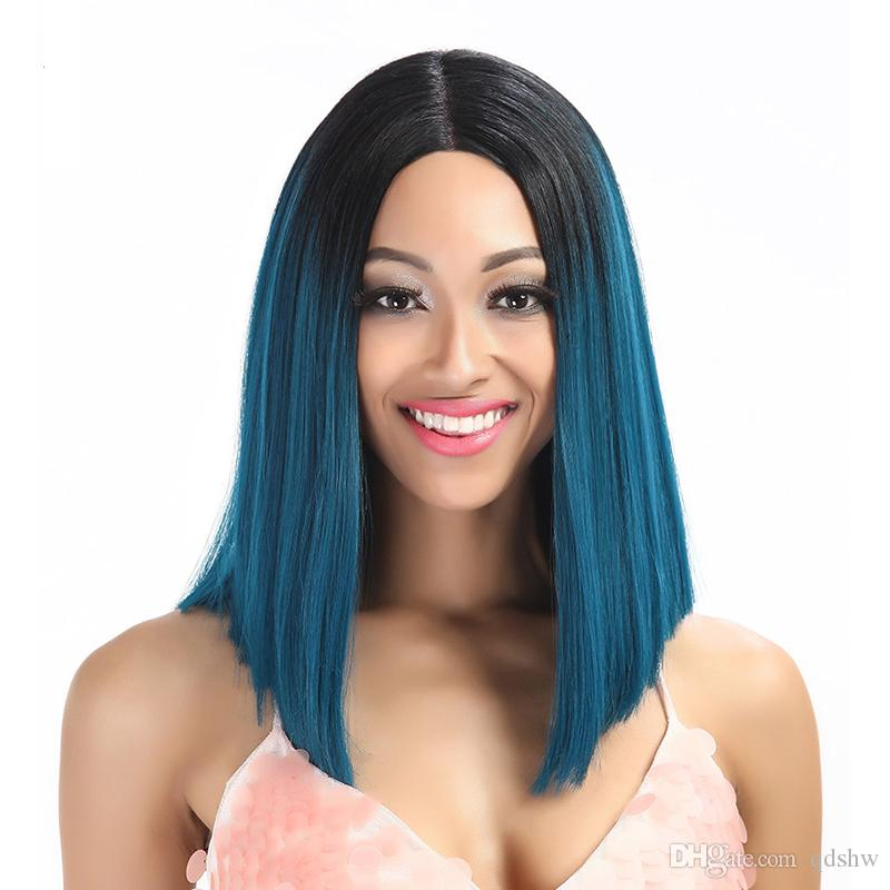 Ombre Synthetic Lace Front Wig Blue Ombre Short Bob Hairstyle