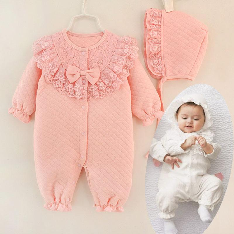47efceaa9 2019 New Fall Winter Baby Girl Cotton Lace Jumpsuit Rompe Overall ...