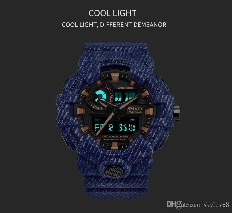 Nouvelle marque de luxe pour hommes Smael sports denim extérieur imperméable à double affichage montre multifonction hommes montre électronique LED