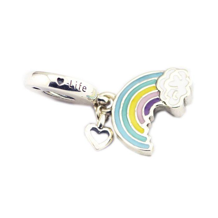 d54c1f0b0113b Rainbow heart charms of love pendant S925 silver fits for pandora style  bracelet 797016ENMX H8