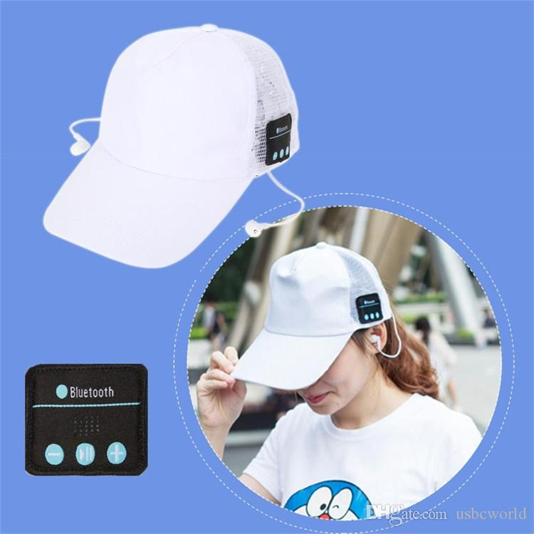 Wireless Bluetooth Headphone Music Sports Mesh Cap Hands-Free Mic Earphone Sun Cap For Iphone Samsung