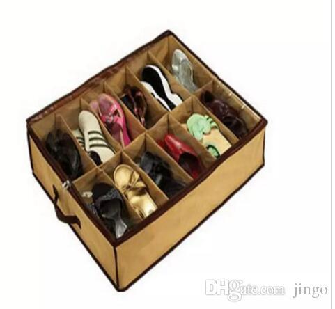 12 Çift Bezi Kumaş Ayakkabı Depolama Organizatör Tutucu Ayakkabı Organizatör Kutuları Dolap 67 * 56 * 15cm Can İşlevi Ev hottel nt