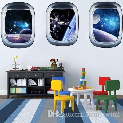 Satın Al 3d Yeni Yıldız Gezegen Uzay Gemisi Sahte Pencere Dekoratif