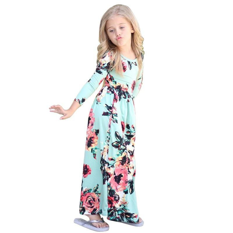 c3abd0c8915 Baby Girls Flower Print Maxi Dress Long Sleeve Bohemian Ankle Length Floral  Kids Baby Party Pageant Lace Beach Long Dresses Down Jackets For Toddlers  Kids ...