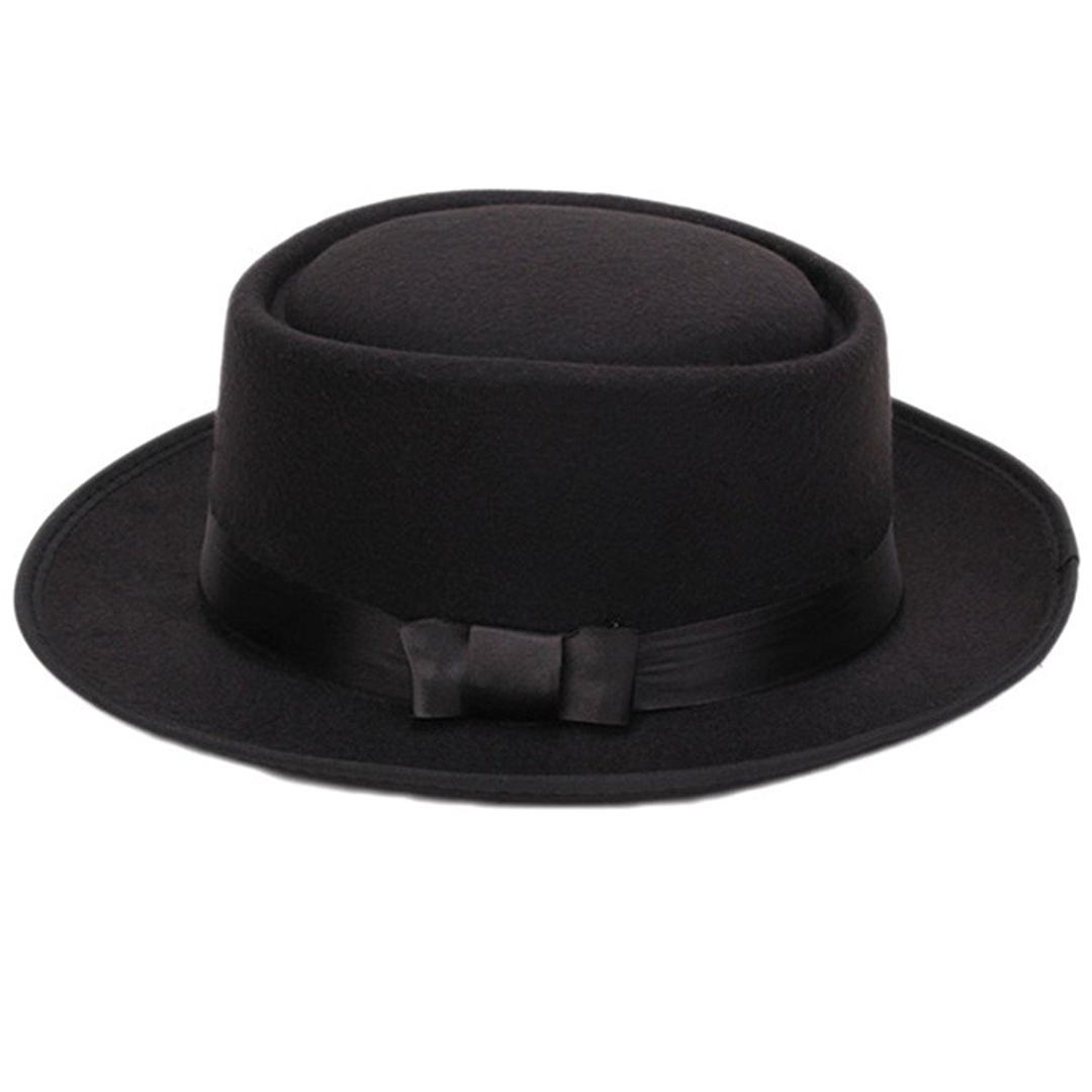 Nouveau Chaud Femmes Hommes Cool Classique Jazz Chapeaux Chapeaux Fedora  Trilby Chapeau Souffleur avec Bowknot (Noir)