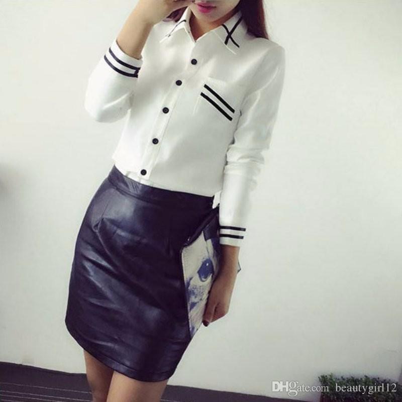 Fashion female elegant bow tie white blouses Chiffon turn down collar shirt Ladies tops school blouse Women