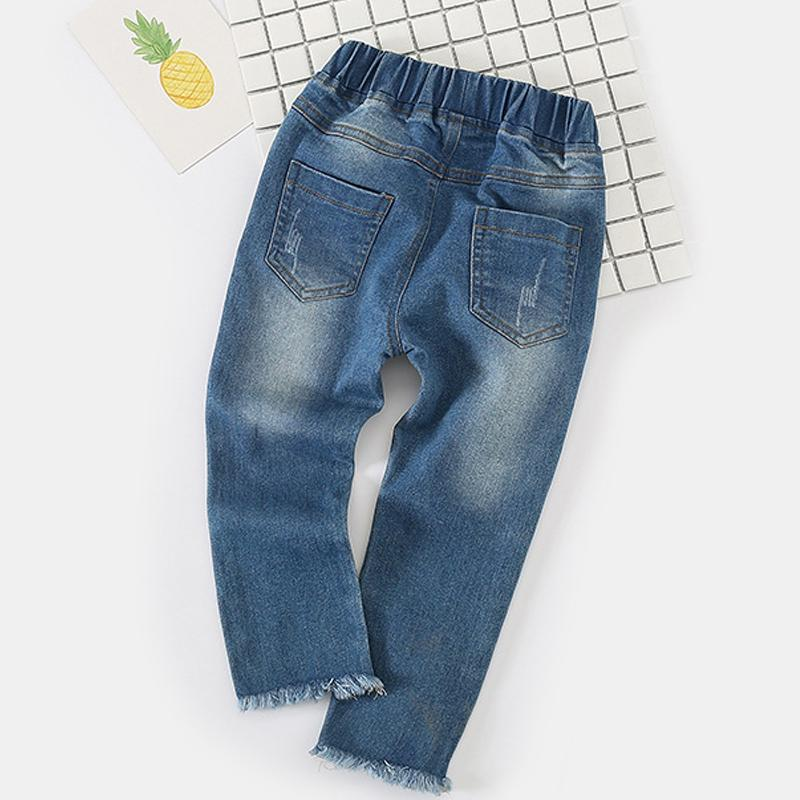 Kids Jeans 2017 New Fashion Spring Autumn Baby Girls Trousers New Flowers Embroidery Loose Waist For Children Jeans Pants