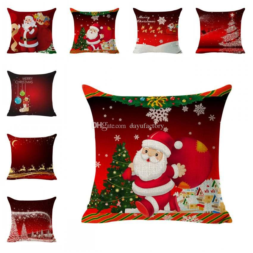 red cushions covers santa throw pillow cover christmas decorative pillowcase square cushion covers reindeer elk dog printed 4545cm 24x24 patio cushions - Christmas Decorative Pillow Covers