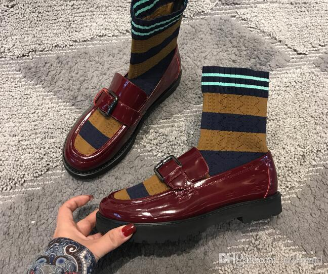 Europe America autumn winter new three-color flying fabric stripe socks fight bag leggings fight color leather low-heeled boots