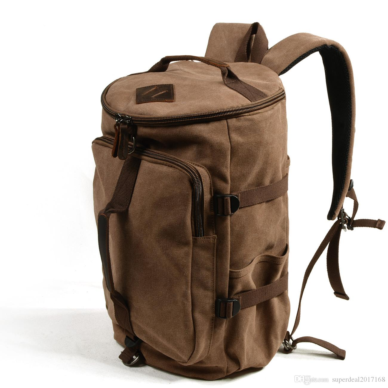 e5ebe177f8e0 Retro Oil Wax Canvas Leather Backpack Hiking Mountaineering Daypacks Laptop  Outdoor Vintage Unisex Casual Rucksack Satchel School Bag Best Backpack  Designer ...