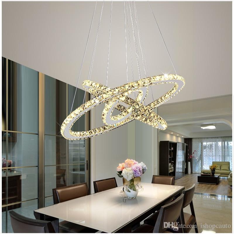 Modern Basit Sanat Yüzük LED Kristal Sarkıt Lüks Paslanmaz Çelik Ayarlanabilir Şekil Lamba Fikstür Oturma Odası Lobi için