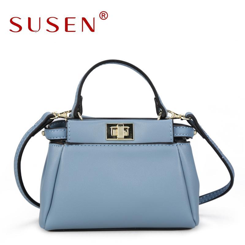 SUSEN PU Women Fashion Handbags Simple Style Zipper Closure Top Solid Color Messenger  Bag High Quality Adjustable Strap Handbag Personalized Bags Fashion ... 8c903bad0ea59