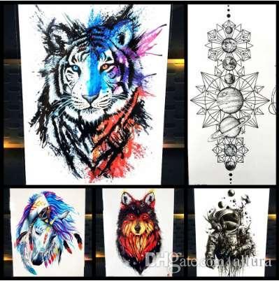 25 Estilos Nueva Acuarela Tigre Fox Lobo Tatuaje Temporal Para