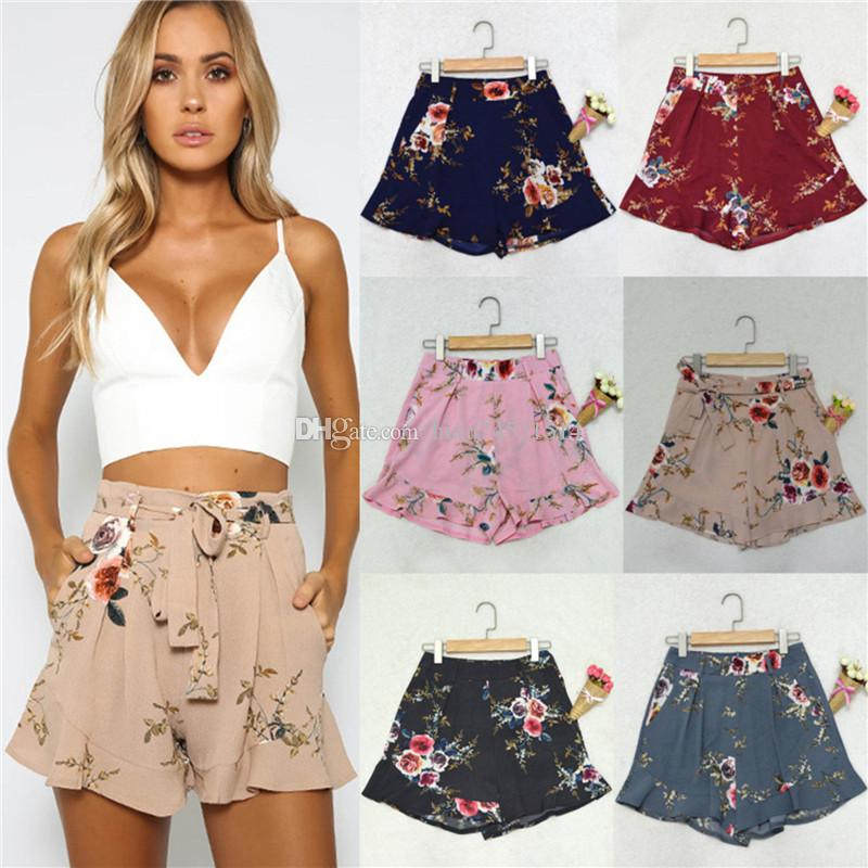 f03449532c48f Shorts Women Floral Print Short Femme 2018 New Summer Style Hot Loose Belt  Casual Thin Mid Casual Short Women s Plus Size