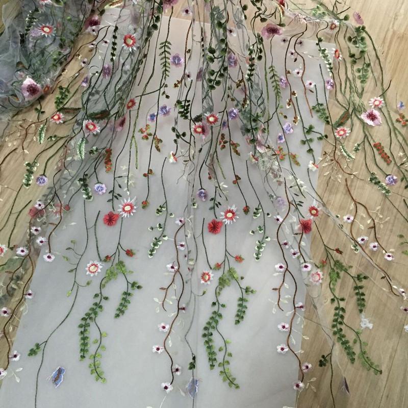 2019 1yard Net Yarn Three Dimensional Embroidery Flower Lace Fabric
