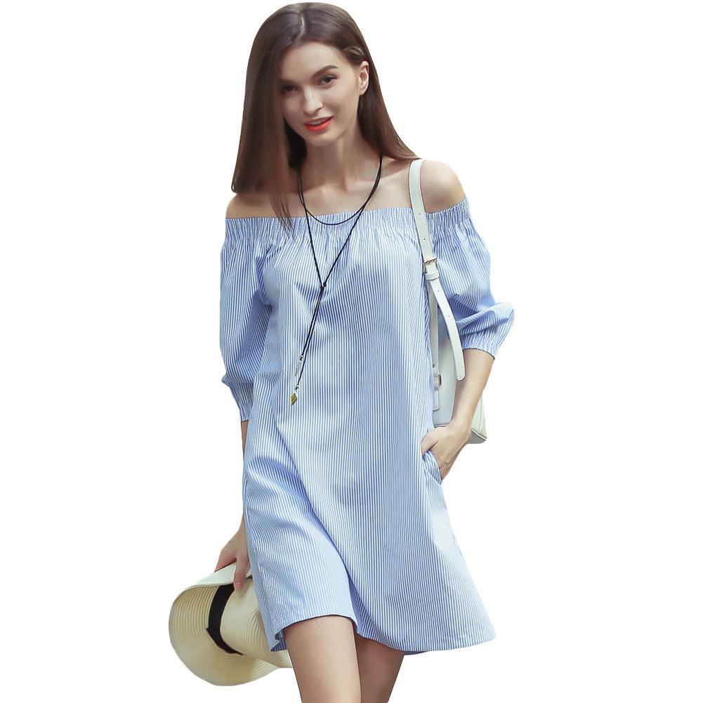 1a422150d1 Compre Mulheres Vestido Listrado Azul Barra De Corte No Ombro T Shirt  Vestido 3 4 Bolsos Mangas Elásticas Casual Solto Mini Vestido 2019 Verão De  ...