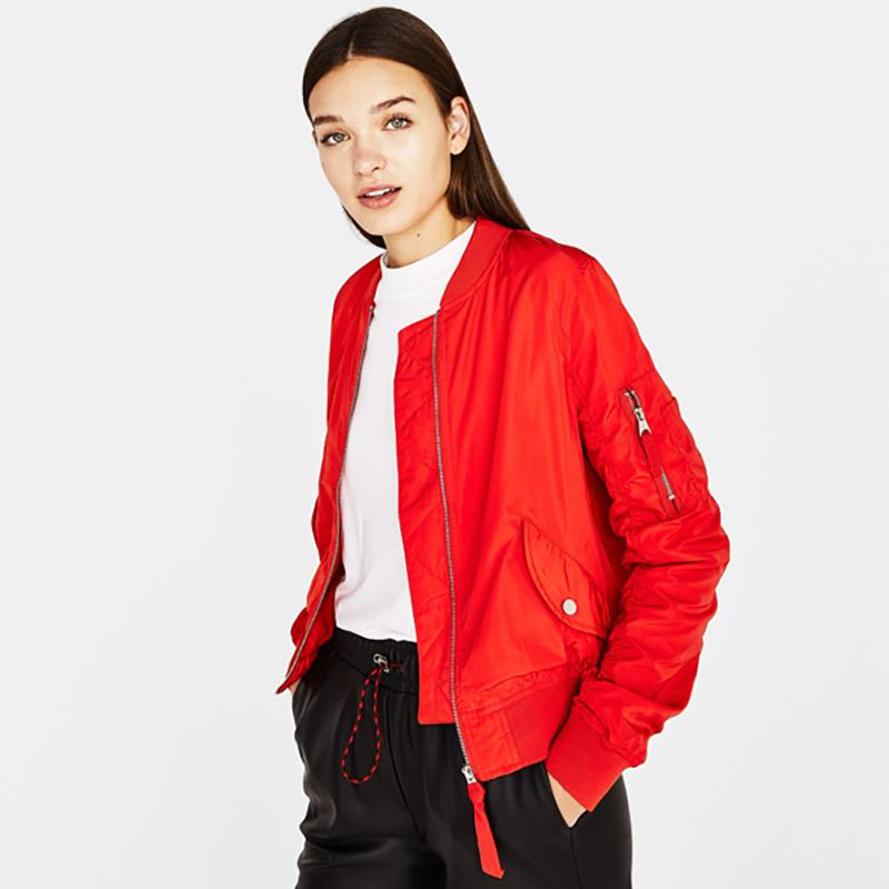 Iets Nieuws Short Red Bomber Jacket Coat Women Zipper Vintage Casual @WS66