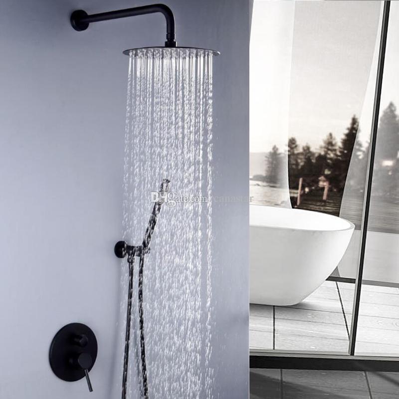 Robinet de douche de salle de bain noir monté sur plafond / mur de plafond  unique