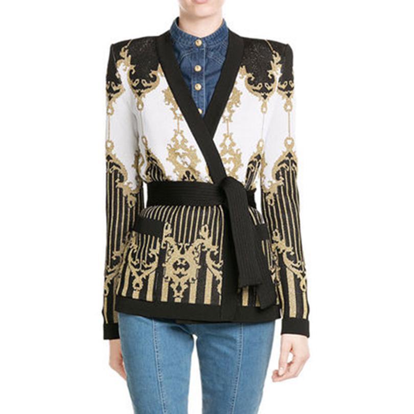 706cb298f68c0 TOP QUALITY Paris Fashion Designer Jacket Women s Tie Belt Gold Thread  Knitting Cardigan Outer Sweater Jacket free shipping