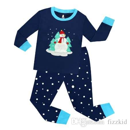 2a49533dda15 100 Cotton Long Sleeve Navy Blue Snowman Boys Christmas Pajamas ...