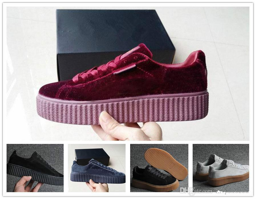 e91941fbe001 Hot Sale Womens Rihanna Riri Fenty Platform Creeper Velvet Pack Burgundy  Black Grey Color Brand Ladies Classic Casual Shoes36 39 Top Quality Shoe  Sale Shoes ...