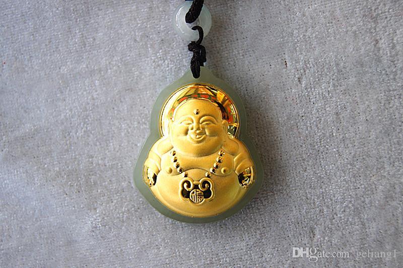 Gold inlaid with jade, long life lock - laughing Buddha maitreya. Talisman, necklace pendant.