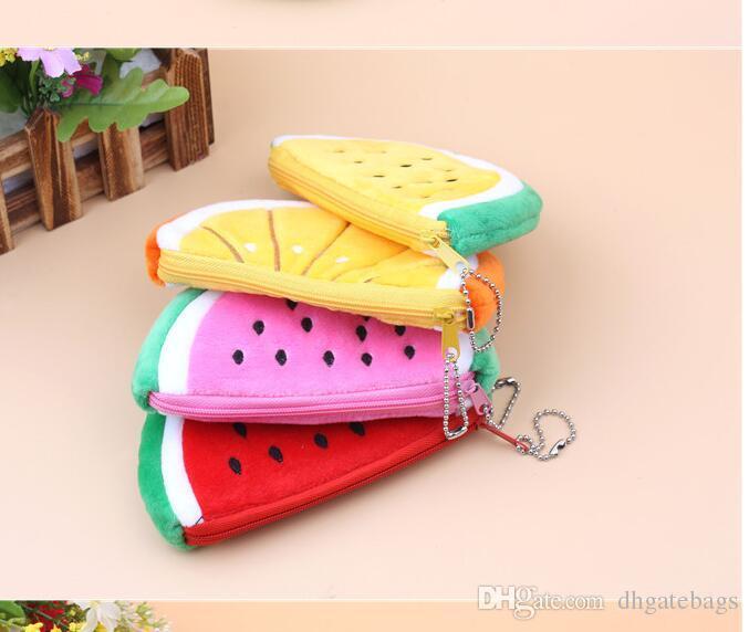 Cartoon fruit pencil bags Plush Zipper Cosmetic Bag Plush Zipper Cosmetic Bag Cute watermelon makeup bags plush change bag