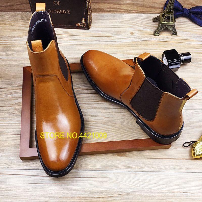 2f9a2b97253c8 Compre Invierno 2018 Botas De Trabajo Masculinas Italianas Hombres Negro  Tiras Botas De Cuero Natural Nieve Zapatos De Cuero Importados Luxe Tobillo  Oxfords ...