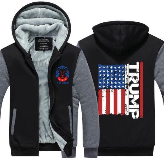 5e5d41736b4c 2019 2017 Men Women Hoodie Trump Thicken Fleece Sweatshirt American Flag  Zipper Jacket Super Warm Casual Coat US EU Plus Size From Hoodiestore
