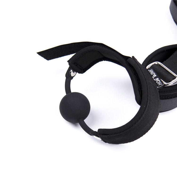 Juegos para adultos Slave femenina Conexión del cuello de la muñeca Restricciones de la mano en la espalda Puños BDSM Bondage Gadgets Boca Bola de mordida Juguetes adultos para adultos