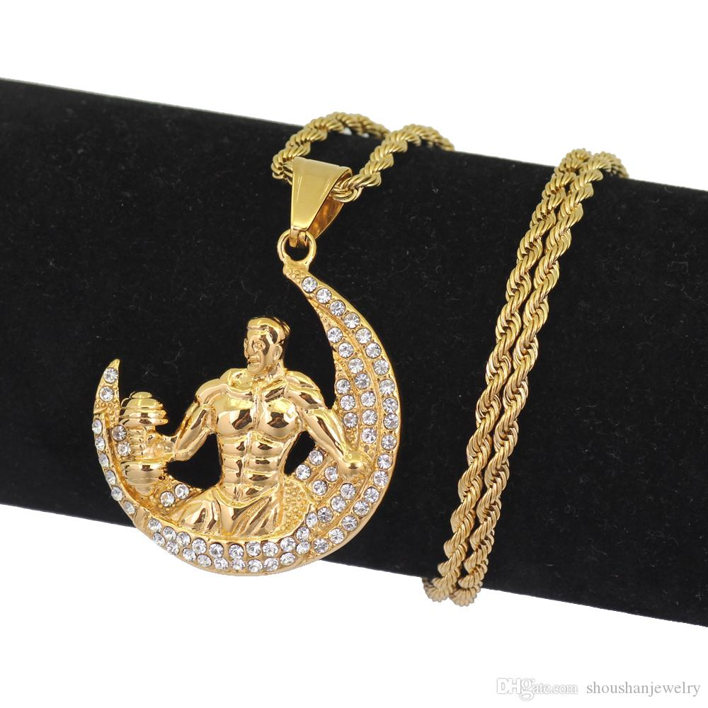 Stainless Steel Jewelry Hip Hop Bodybuilding on moon Pendant Necklace Jewelry 24inch Rope chain SN110