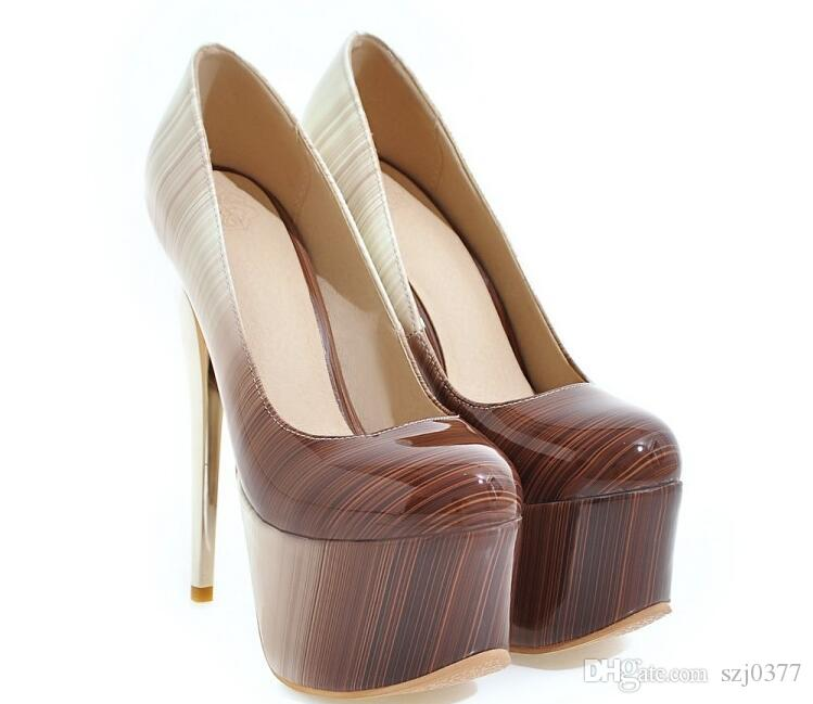 16 CM Club sexy Stage night shop Shoes Gradient Color Patent Leather high-heeled shoes Stiletto Heel Wedding Shoes Big Size US 3~ US 12