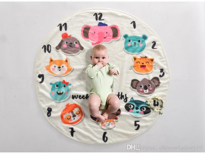 INS Bebé Hito Manta redonda Animal Fotografía Fondo Atrezzo Mantas Swaddling infantil Número de flor Recién nacido Niños Envuelve 95 cm