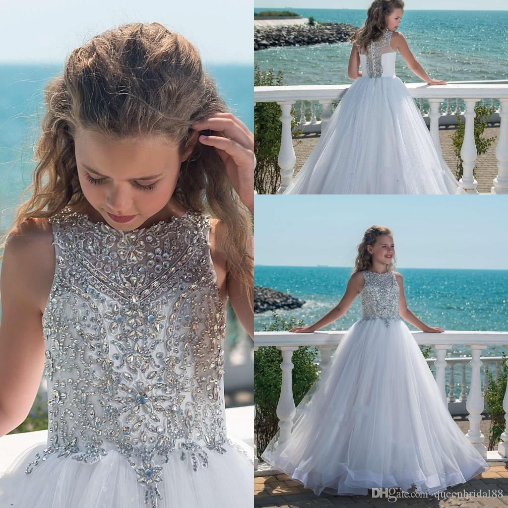 Bling Rhinestone moldeado sin mangas cuello de la joya de las niñas de los vestidos del desfile de los botones Atrás largas de tul muchachas de flor vestidos para bodas