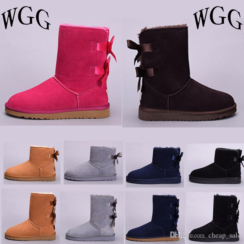90daad714f 2019 Women Winter Australia Snow Boots Classic WGG Tall Boots Real Leather  Bailey Bowknot Girl And Womens Bailey Bow Knee Boots Shoes Office Shoes  High ...