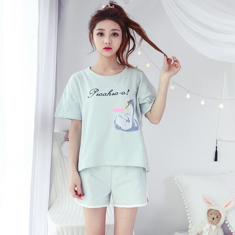 100% Cotton Shorts Pajama Sets for Women 2018 Summer Short Sleeve Pyjama  Pijama Girls Cute Cartoon Homewear Lounge Home Clothing Online with  34.84  Set on ... fe53e1ee7