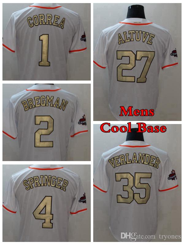 2018 Gold Program Mens 27 Jose Altuve 1 Carlos Correa 4 George Springer 35  Justin Verlander 2 Alex Bregman Baseball Jersey Shirt Jose Altuve Gold  Jersey ... a8f4f7c87