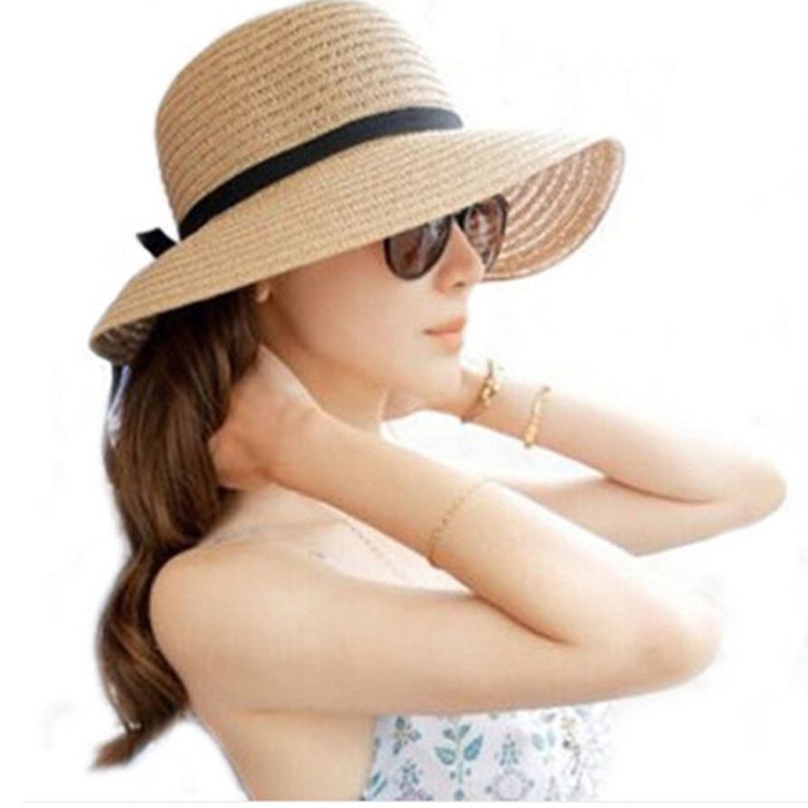 2c6b1f0a7 2018 Hot Floppy Foldable Ladies Women Straw Beach Sun Summer Hat Beige Wide  Brim Hats For Women Shade Sunhat Beach Caps Leisure