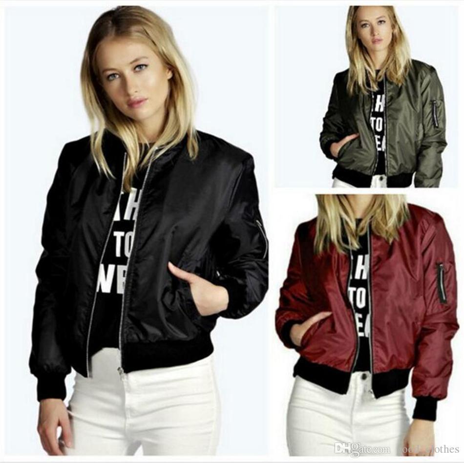 50f5f2b12 Women Short Baseball Jacket Sports Coat Bomber Long Sleeve Zipper Slim  Solid Color Long Sleeve Biker Bomber Jacket Top OOA4166