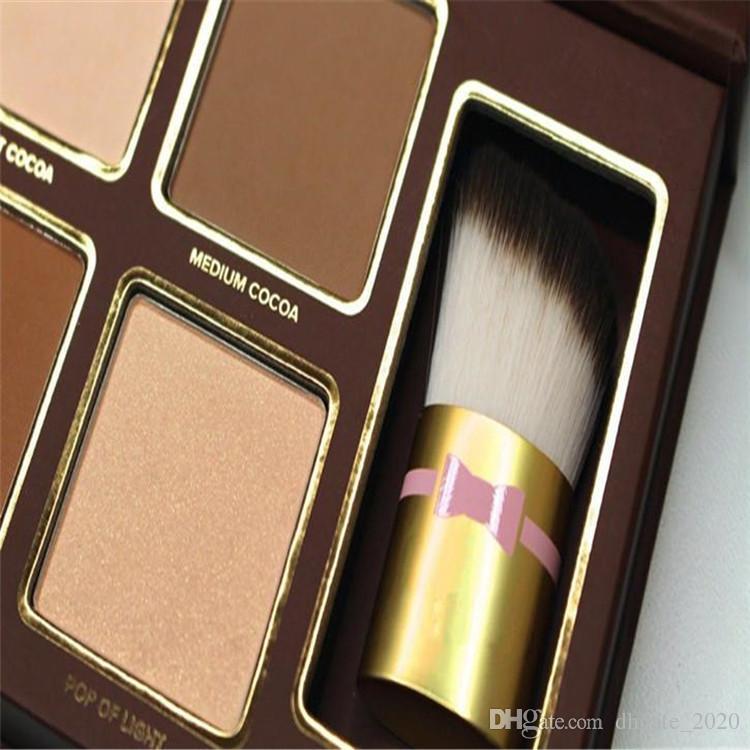 كاكاو كونتور كيت 4 ألوان برونزرز المفرومون مسحوق لوحة عارية اللون لامع عصا مستحضرات التجميل عينيه الشوكولاته مع فرشاة