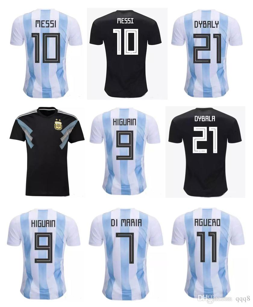 hot sale online 079de 9ca13 2018 World Cup Argentina Soccer Jersey 10 MESSI DYBALA DI MARIA AGUERO  HIGUAIN ICARDI Home Away Argentina Football kit Shirt Thai Quality
